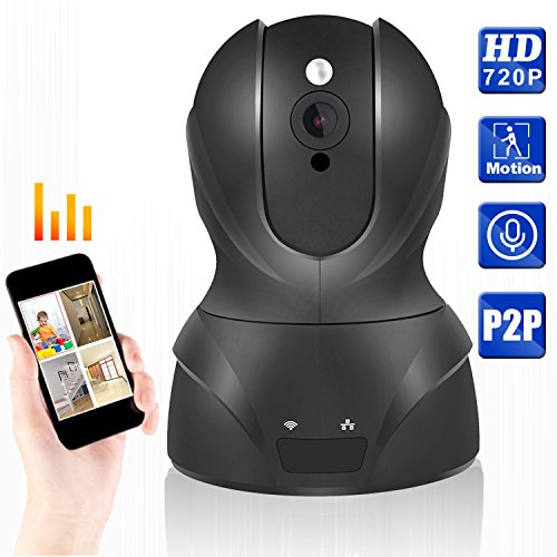 720P WIFI IP Security Camera Pan/Tilt Zoom Indoor Video Surveillance CCTV Camera, Plug/Play, with Two-Way Audio &Night Vision & Motion Detection (Black)