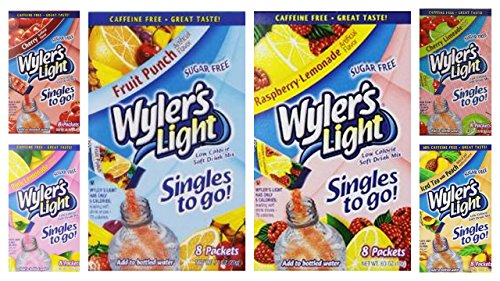 Wylers Light Singles - Wyler's Light Singles to Go Bundle, 8 packet/box (Pack of 6) includes 8-Packets Pink Lemonade, Fruit Punch, Cherry Limeade, Cherry, Raspberry Lemonade, Lemonade (48 PACKETS)