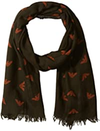 Armani Exchange Men's Pure Wool Fabric Scarf with Eagle Logo