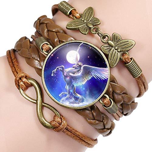 Giwotu Womens Unicorn Bracelet Handmade Love Leather Charm Bracelets for Horse Lovers 12006112