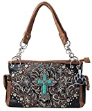 HW Collection Western Imitation Turquoise Cross Flowers Concealed Carry Handbag (Black)