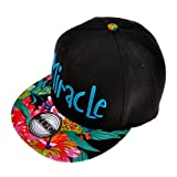 ZLYC Women Miracle Word Embroidered Floral Flat Bill Snapback Hat Adjustable Baseball Cap, Blue