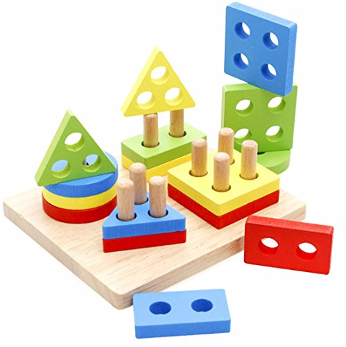 (WINZIK Wooden Educational Puzzle Toy Shape Color Recognition Geometric Board Block Stack Sort Chunky Toys, Birthday Gifts Toy for Kid Children Boy Girl)