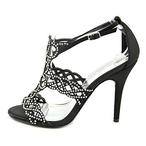 Caparros Armani Women Open-Toe Canvas Heels Black ft5NBY4