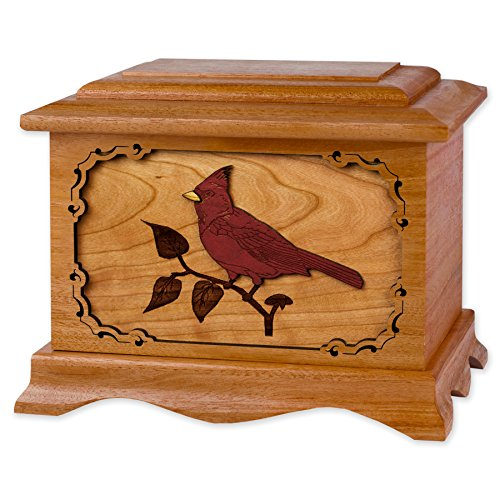 Wooden Cremation Urn - Ambassador Shape with Cardinal Bird 3-Dimensional Inlay Wood Art Memorial - Funeral Urns for Adults (Solid Mahogany Wood)