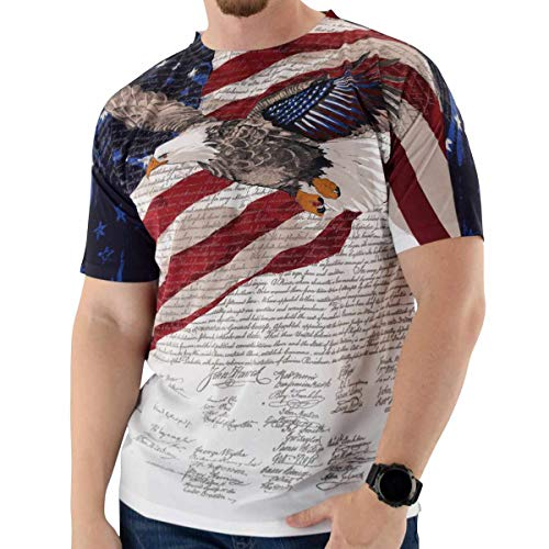 - Mens Crewneck Sublimation Print Tee - Constitution, Eagle Head, Eagle - 100% Polyester (M, EAGCONST-39)