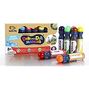 8 pack washable Dab & Dot Markers, dauber for kids- a children art supplies for Toddlers, preschool,home school and bingo activity - includes 200 downloadable a dot marker coloring sheets