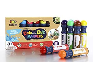 NON TOXIC | WASHABLE | BEST Dab and Dot Markers | 8 Colors Pack Set | Includes 200+ Fun Downloadable Coloring Sheets | Fun Art Supplies for kids and preschoolers| Mess Free Arts and Crafts Activity