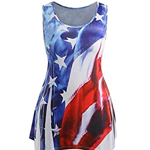 Tank Tops, Women Sexy Sleeveless Amercian Flag Print Vest Cool Tunic Tops Blouse Plus Size (XXXL = US Size XL, Blue)