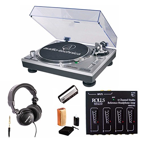 Audio-Technica AT-LP120-USB Professional DJ Turntable with Headphone Amplifier, Studio Headphones, and Knox Cleaning Kit