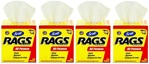 Scott Rags In A Box (75260), White, 200 Shop Towels per box, 4 Cases (8 Boxes) by Scott