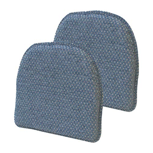 Klear Vu Raindrop Essentials Non Slip Dining Chair Pad Cushion, Set of 2, 16