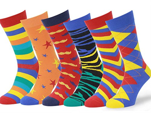 Easton Marlowe Mens - 6 PACK - Colorful Patterned Dress socks - 6pk #5, mixed - bright colors, 43-46 EU shoe size