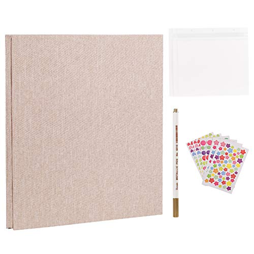 Self Adhesive, Dust-Free/Air-Free/Glue-Free Scrapbook Album for Wedding/Family, Linen Cover DIY Gift Magnetic Photo Book with 40 Sticky Pages Holds 8X10, 6X8, 5X7, 4X6, Yellow ()