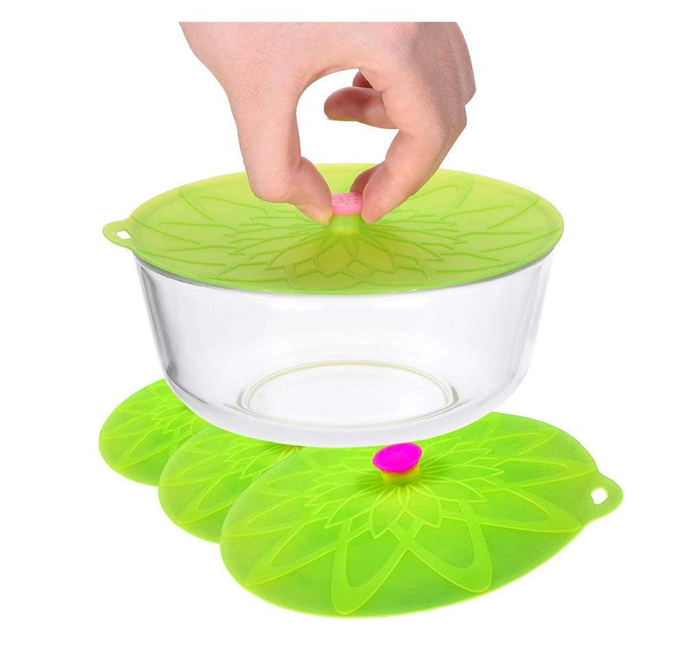 Kuke Silicone Suction Lids Set of 3 Silicone Bowl Lids Reusable Suction Seal Covers for Microwaves Bowls Pots Cups Food Cover (Green) by Kuke (Image #1)