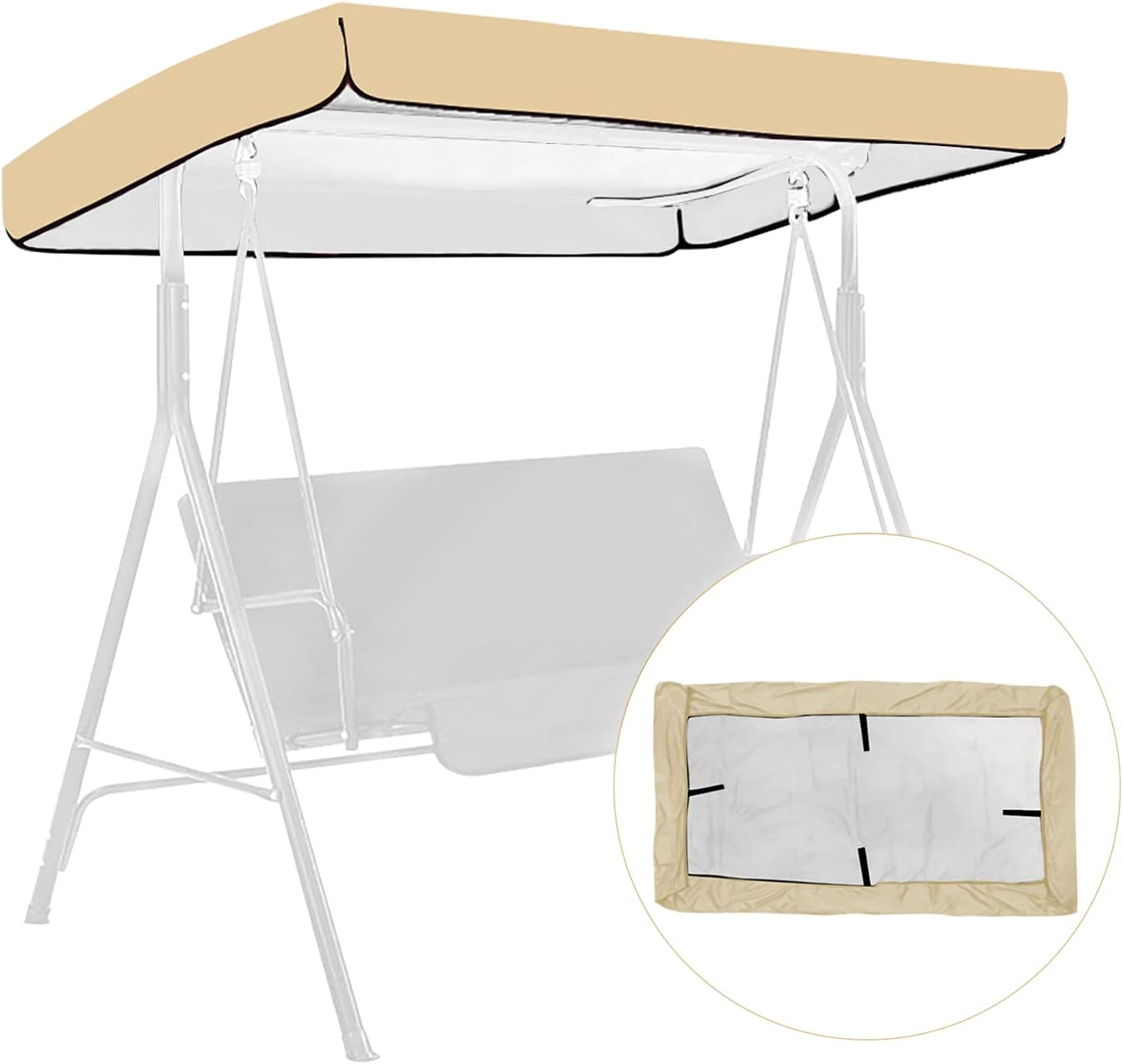 Outdoor Swing Canopy Replacement Top Cover, Waterproof Swing Canopy UV Block Sun Shade Seat Cover, Patio Swing Hammock Roof for Porch Patio Garden Pool Seat(Beige)