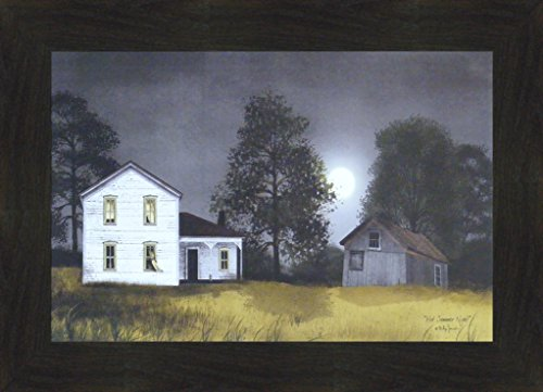 (Hot Summer Night by Billy Jacobs 16x22 Full Moon Dark Sky Farm Barn Country Primitive Folk Art Framed Print Picture (2