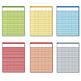 "Laminated Dry Rease Incentive Chart/Chore/Responsibility/School Attendance/Homework Progress Tracking Chart, 6 Pack in Multi-color, 36 Rows X 25 Columns (17"" x 22"")"