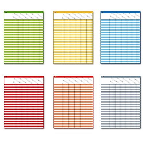 SpriteGru Laminated Dry Rease Incentive Chart/Chore / Responsibility/School Attendance/Homework Progress Tracking Chart, 6 Pack in Multi-Color, 36 Rows X 25 Columns (17 x 22)