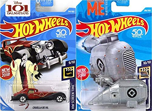 Hot Wheels Cruella De Vil 343/365 Grumobile 296/365 HW Screen TIme 2 Car Bundle Set