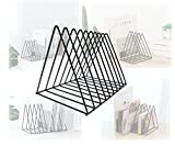 Alrsodl Black Triangle Geometric Heavy Duty Nonskid Iron Metal Bookend Decorative Book Holder Organizer For Office School Library Home Study Decoration Gift