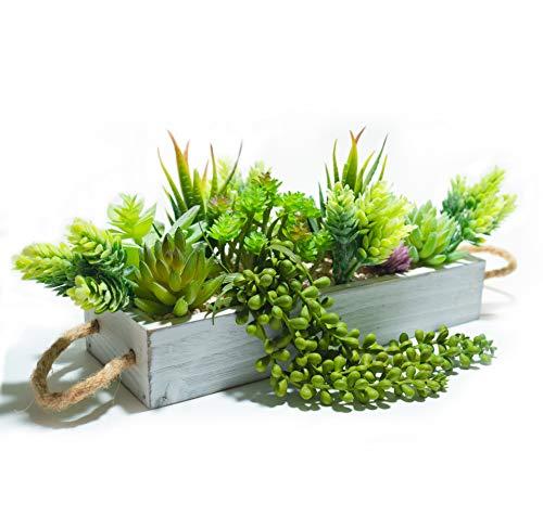 Artificial Succulent Planter Arrangement - Rustic Home Decor Succulent Centerpiece - Fake succulents in rustic wooden tray - Assorted 15pc potted plants set - Faux Succulent Centerpiece Planter Box