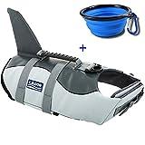 URSKYTOUS Dog Life Jacket Shark Pet Life Vest for Swimming Puppy Swimsuit Lifesaver Preserver (S, Shark)