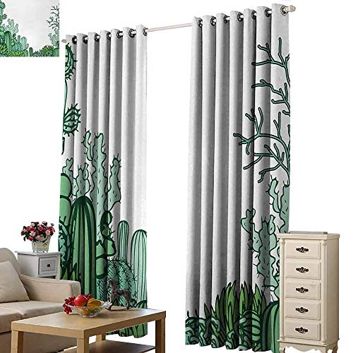 - Homrkey Kids Room Curtains Cactus Arizona Desert Themed Doodle Cactus Staghorn Buckhorn Ocotillo Plants Thermal Insulated Tie Up Curtain W108 xL84 Green Pale Green Seafoam