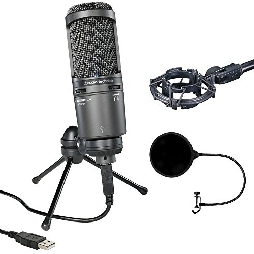 Audio-Technica Deluxe USB Cardioid Condenser Microphone (AT2020USB+) with Microphone Shock Mount & Pop Shield Universal Pop Filter Microphone Wind Screen with Mic Stand Clip (Deluxe Mic)
