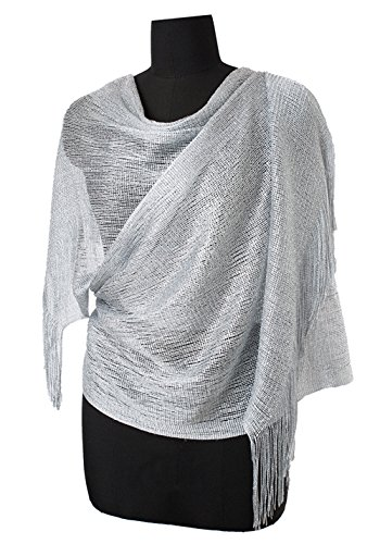 Evening Gold Shimmer - MissShorthair Womens Wedding Evening Wrap Shawl Glitter Metallic Prom Party Scarf with Fringe(Silver Grey)