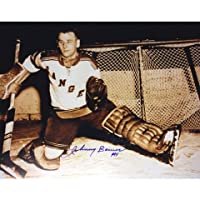 Autograph Authentic AAHPH30301 Johnny Bower Autographed 8 x 10 in. Sepiatone Photograph - New York Rangers