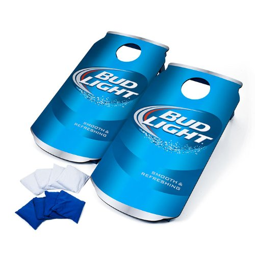 Officially Licensed Bud Light Cornhole Bean Bag Toss Game Set - Includes Bonus Mini Tabletop Cornhole Game! by TMG