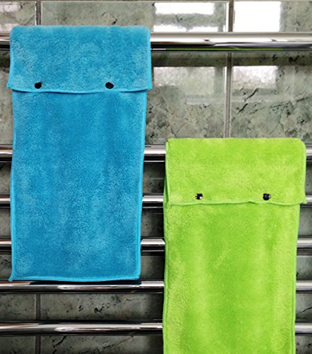 Hanging Hand Towels with Snap Fastener - Set of 3 Lime Green, Hanging Kitchen Hand Towels, Hanging Bathroom Hand Towels, Soft, Quick Drying, Microfiber Fluffy Fingertip Towels by Taylors of Kent (Image #6)