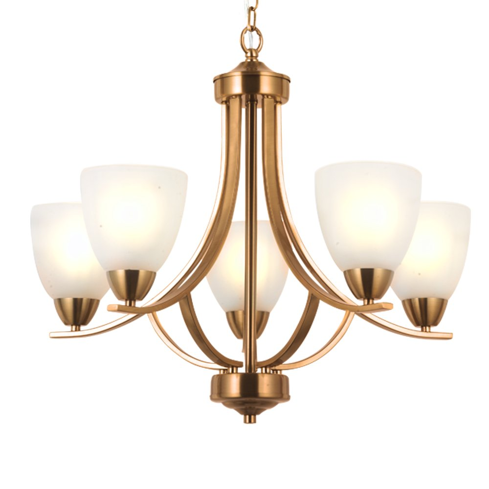 Amazon com vinluz 5 light contemporary chandeliers brushed brass modern ceiling light fixtures classic pendant lighting for bedroom dining room kitchen