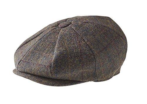 (Peaky Blinders Men's 8 Piece 'Newsboy' Style Flat Cap Wool (Medium (57 cm), Brown Mountain Tweed))