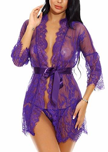 Babydoll Biancheria Lingerie Confortevole Sexy Mesh Donna Notte Set e Xoolover da Viola Pizzo Esotico Intima Abito q04cPC