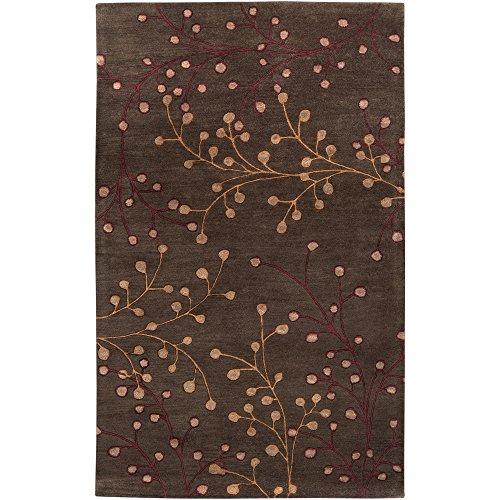Surya Athena ATH-5052 Transitional Hand Tufted 100% Wool Dark Chocolate 6' x 9' Floral Area Rug