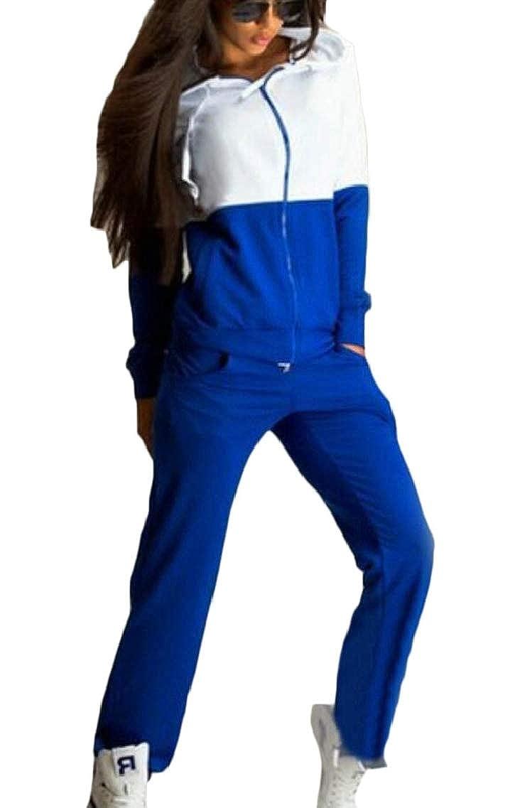 QD-CACA Womens 2PCS Sets Hoodies Jackets Color Block Running Pants Tracksuits