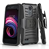 Phone Case for [LG Rebel 4 LTE (L212VL, L211BL)], [Refined Series][Black] Shockproof Cover with [Kickstand] & [Holster] for LG Rebel 4 LTE (Tracfone, Simple Mobile, Straight Talk, Total Wireless)