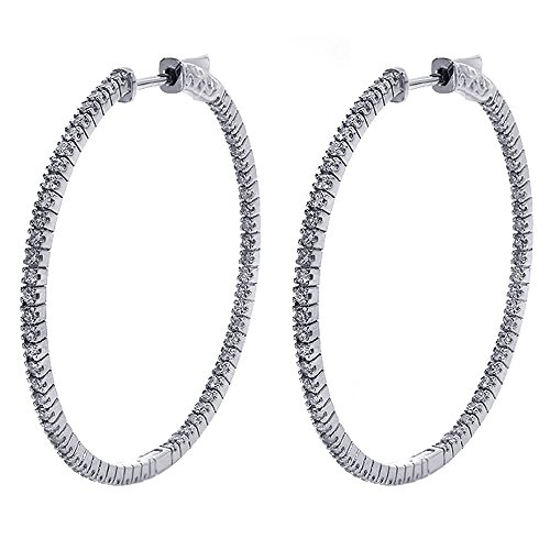 1.25 Carat Eternity Inside Out Diamond Hoop Earrings 14K White Gold Inside Out Diamond Hoop