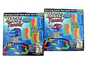 Magic Tracks Light up Set - Pack of 2 - One Red Car and One Blue Car - 22 Feet of Neon Tracks