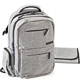 Diaper Bag Backpack - Multi-function Baby Organizer with Stroller Straps, Large Changing Pad and Insulated Pockets, Grey