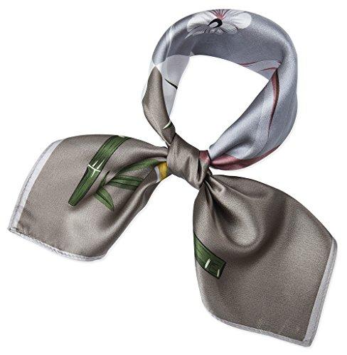 corciova Women 100% Mulberry Silk Neck Scarf Small Square Scarves Neckerchiefs Grullo Bubble Gum Orchid Bamboo Design