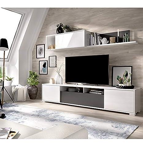 HABITMOBEL Mueble de Salón Alida, Mueble TV con Puertas y Estante a Pared, Dimensiones 180x200x41 cm