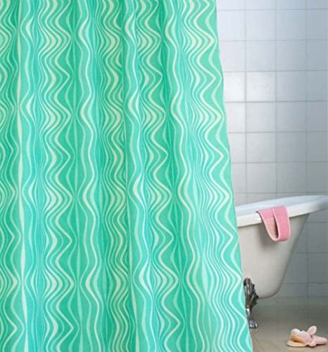 Cosette New Waterproof Colored Sea Wave Green Blue Fresh Aspect Fabric Shower Curtain, 71