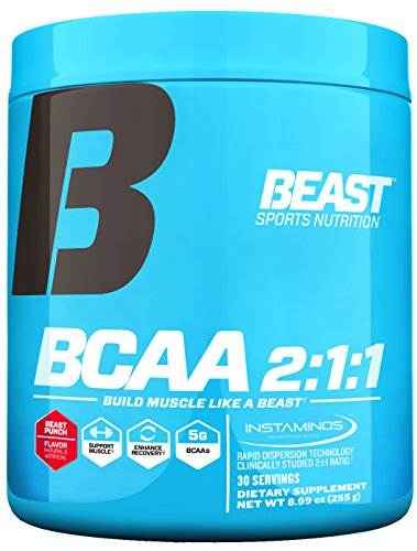 Beast Sports Nutrition – BCAA 2:1:1 – Amino Acid Supplement – Support Muscle Growth – Minimize Muscle Breakdown – Accelerate Recovery – Increase Protein Synthesis – Beast Punch 30 Servings