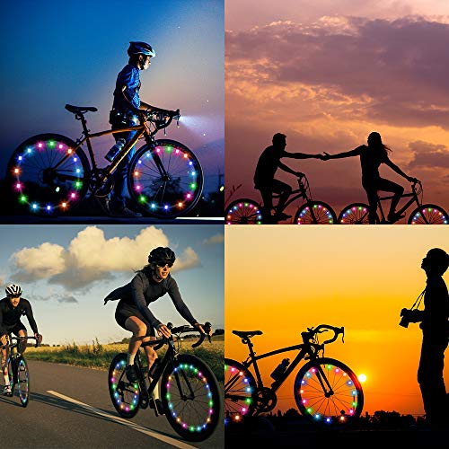 ELlight LED Bicycle Wheel Lights(2 Tires Pack) Multicolor Changing Bike Spoke Lights Cycling Decoration Safety Warning for Kids Adults Outdoor Family Night Riding