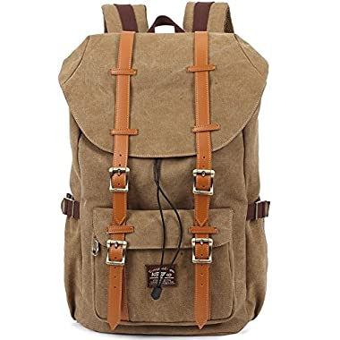 KAUKKO New Feature of 2 Side Pockets Outdoor Travel Hiking Backpack Laptop Schoolbag for Men and Women (Canvas Khaki)
