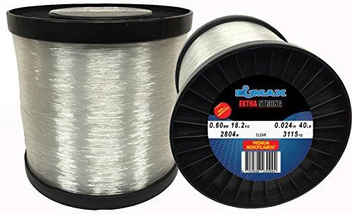 Monofilament Fishing Line Clear Elmax 2lb Bulk Spool (Clear 0.60mm-18.2kg-2804m, 0.024inch-40LB-3115yd)