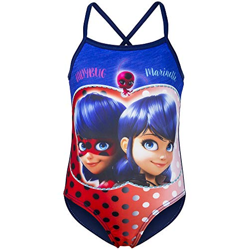 Miraculous Ladybug Girls One Piece Swim Wear Swimsuit (Blue, 6 Years)